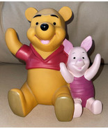 "Vintage Walt Disney Winnie The Pooh And Piglet Piggy Coin Bank Plastic 6"" - $12.99"