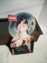 "1926 COCA-COLA 7 Million Drinks A Day, Umbrella Girl Mounted On Wood 11"" Tall - $27.95"