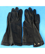 Black Leather Gloves Italian Kid Stitch Detail Italy 1960s Washable Leat... - $48.00