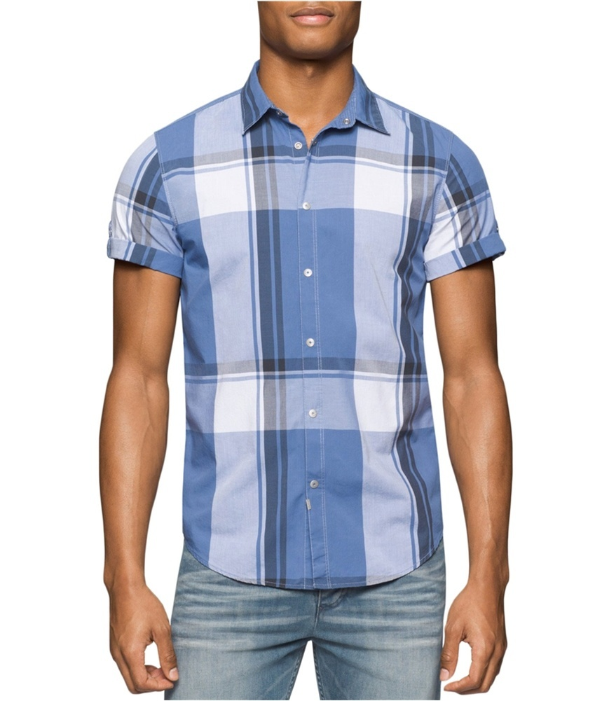Calvin Klein Mens Exploded Beach Button Up Shirt (Size: M, Color: Blue)