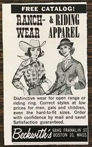 1962 Beckwith's Boston MA Print Ad Ranch Wear Riding Apparel - $7.64