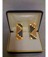 BEN AMUN EGYPTIAN ART DECO ENAMEL CLIP EARRINGS - $29.99