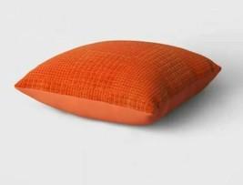 Oversized Velvet Grid Square Throw Pillow Orange - Threshold 24'' X 24''   NEW ! image 2