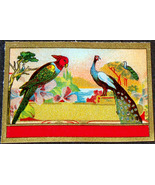 Exotic Litho! Peacock and Parrot Dye Label, 1890's  - $1.99