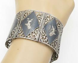 SIAM 925 Silver - Vintage Black Enamel Niello Dancer Chain Bracelet - B5608 - $182.56