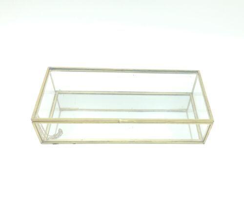 """Vintage Regency 10"""" Decorative Brass Tone Glass Box Vanity Jewelry Trinket"""