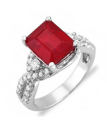 Vintage 4.90 ct natural ruby & diamond ring 14k gold - $1,950.00