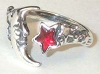 Moon & Star Adjustable Ring Sterling Silver