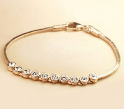 18K RGP Swarovski Diamonds Link Bracelet(Gold ) - $13.29