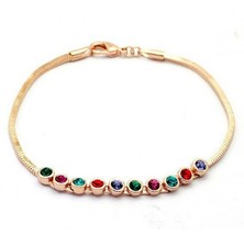 18K RGP Swarovski Colored Diamonds Link Bracelet - $13.29