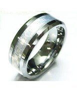 TU5078 Unisex Silver Carbon Fiber Tungsten Carbide Ring - $21.99