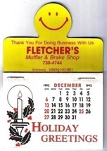 Fletcher's Muffler Brake Shop Happy Face Magnetic Calendar 1993 Fridge M... - $4.74