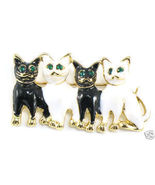 BP39 Black White Cats Kitty Crystal Eyes Brooch... - $4.99