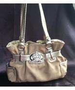 Kathy van Zeeland Gold Canvas / Faux Leather Shoulder Bag, EUC - $49.00