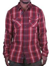 KR3W Uomo Rosso Terreno Fuga Manica Lunga Intrecciato Camicia K15325 Grande Nwt