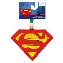 Hallmark DC Comics Superman Shield Blown Glass Christmas Tree Ornament New w Tag image 2