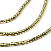 """SOLID 18K YELLOW GOLD CHAIN ROUND BOX SNAKE 1.5 mm, BRIGHT, 40cm, 16"""" inches image 2"""