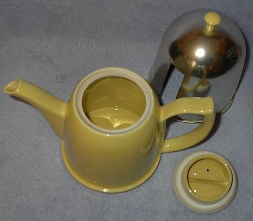Vintage Yellow Art Deco Hall Teapot Tea Pot with Aluminum Cozy