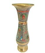 "Vintage Decorative Vase Peacocks Brass Vase 10"" Champleve - $52.24"