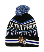 Native Pride Wolf With Feathers Cuffed Knit Winter Hat Pom Beanie (Black) - $12.95