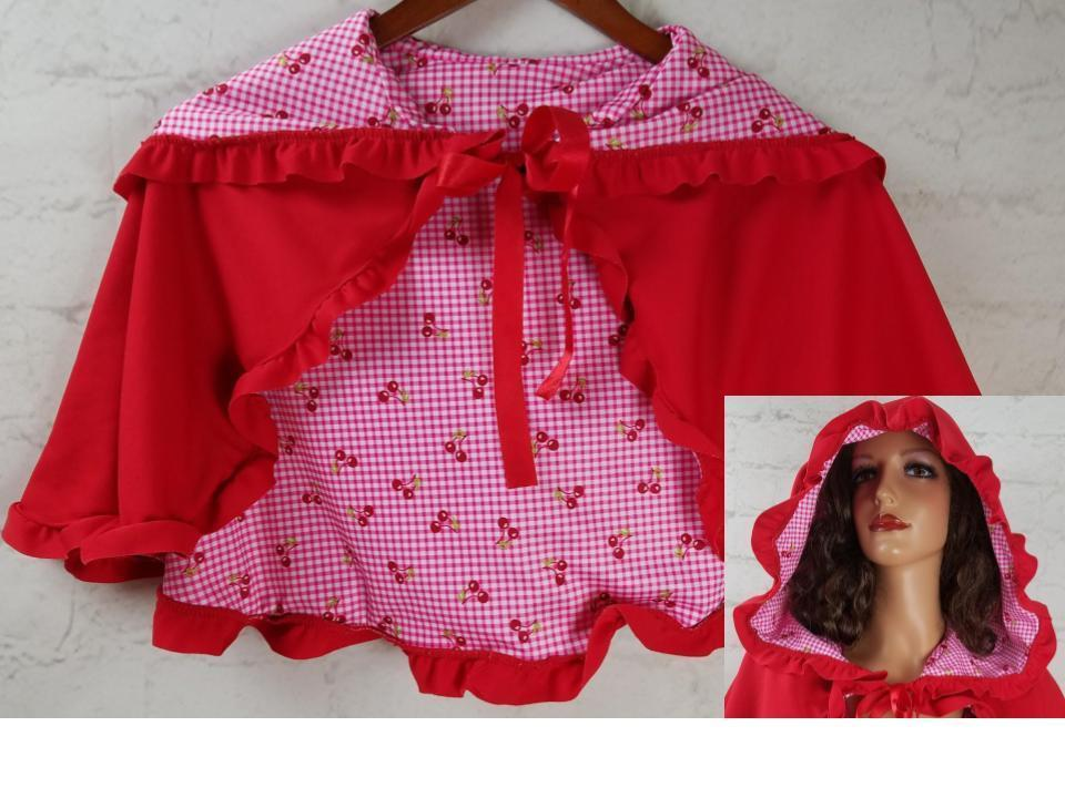 Girls Red Riding Hood Cape Costume CUTE! Handmade Checkered Cherry