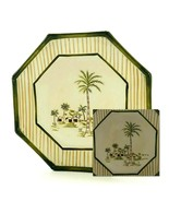 Waverly Tahiti Palm Trees Brown Stripes Hand-Painted Scene Octagonal Sal... - $12.86