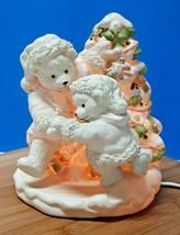 Christmas Polar Bears Ceramic lighted Holiday Season Decor White Teddies... - $21.23