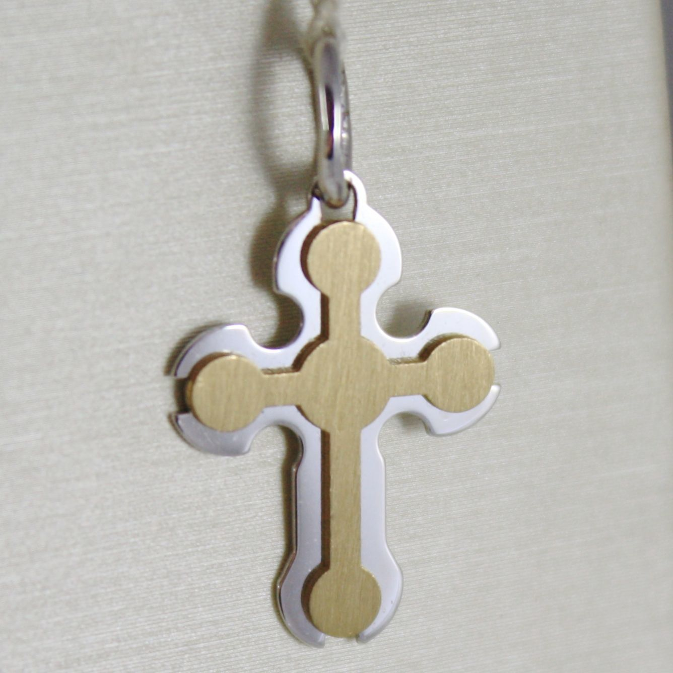 CROSS PENDANT YELLOW GOLD WHITE 750 18K, DOUBLE LAYER SATIN, GLOSSY, ITALY