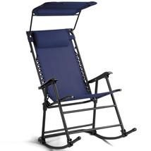 Zero Gravity Folding Rocking Chair Rocker Porch-Dark Blue - $84.49