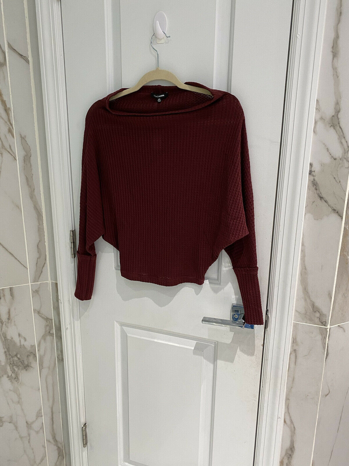Primary image for Fashion Nova Women's Off With His Head Burgundy Sweater Top Size Extra Small