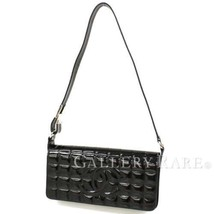 CHANEL Chocolate Bar Patent Leather Black Shoulder Bag France Authentic ... - $627.38
