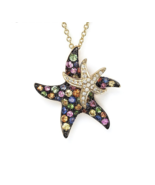 Natural Multi Sapphire Real Diamond Starfish Lovely Pendant in 9K Yellow... - $1,199.99