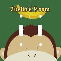 PERSONALIZED PEEK-A-BOO MONKEY BANANA DOUBLE LIGHT SWITCH PLATE COVER - $7.25