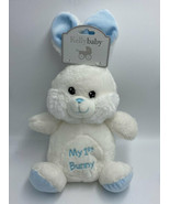 NWT Kellybaby Kellytoy My First 1st Bunny Rabbit Blue White Plush Rattle... - $24.99
