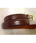 Ralph Lauren Brown Croc Embossed Belt Sz M - $35.99