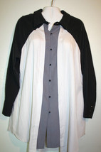 772326627ce New  Isabel Toledo For Lane Bryant Black Gray Ivory Colorblock Long Tunic  Top 16 -