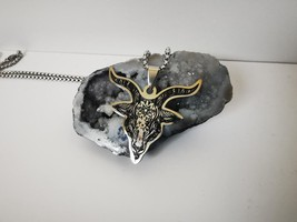 Handmade Stainless Steel Goat Head Satan Pentagram Baphomet Pendant Neck... - $14.00