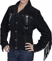Ladies Biker BEADED Fringe BLACK Premium SUEDE Leather WESTERN CUT Jacke... - $189.99+