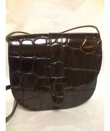 MUNDI SMALL BLACK CROC EMBOSSED LEATHER CROSSBO... - $34.99