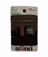 New Scunci Brown 18 count Color Match No Damage Pony Tail Holders Elastics - $6.13