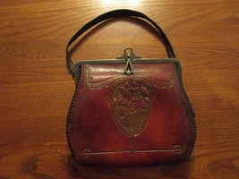 Antique Art Nouveau Deco Hand Tool Butterfly Leather Purse from 1900s? - $58.00