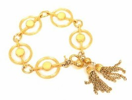 Trifari Vintage Tassel Bracelet Gold Plated Large Circle Links Unique! 7... - $44.50
