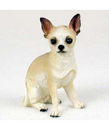CHIHUAHUA  DOG Figurine Statue Hand Painted Resin Gift Pet Lovers Tan White - $17.25