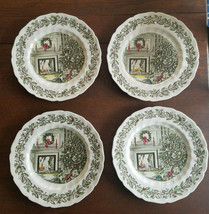 Johnson Brothers MERRY CHRISTMAS 4 Dinner Plates Made in England Holiday  - $123.70