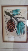 Pinecone Art Print signed Japanese Style Woodblock? Hand Painted. - $64.35