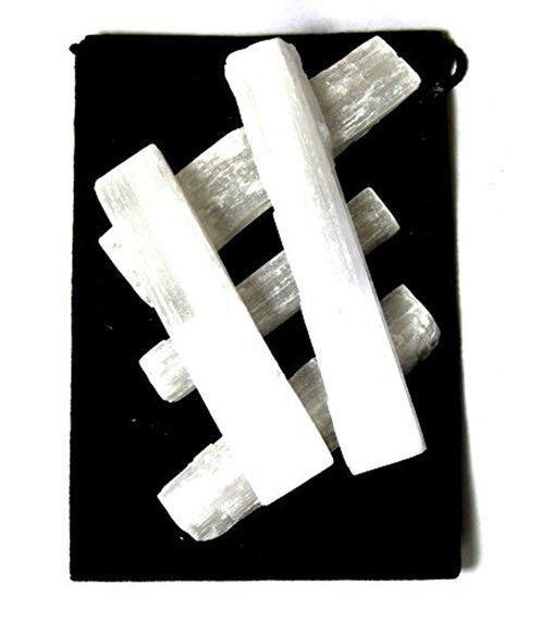 "10 Selenite Sticks Wand Blades Raw Crystal Rough Bulk Specimen 3"" White MOROCCO"