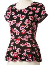 Elle Misses Black Pink Rose Floral Peplum Knit Top Cap Sleeves - $24.99
