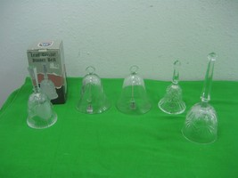 Vintage Lot of Five (5) Bells Clear Glass Crystal Dinner Bells Intricate... - $23.33