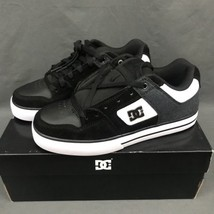 DC Pure SE Skateboarding Shoes 301024 Black White Leather Canvas Suede M... - $59.96