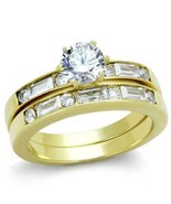 HCJ WOMENS GOLD STAINLESS STEEL 0.75 ct CZ ENGAGEMENT WEDDING RING SET S... - $17.99